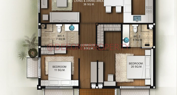 2 Bedroom Penthouse 120 Sqm